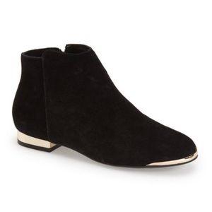 TOPSHOP Beebop Gold Heel Black Ankle Boots Sz 7.5